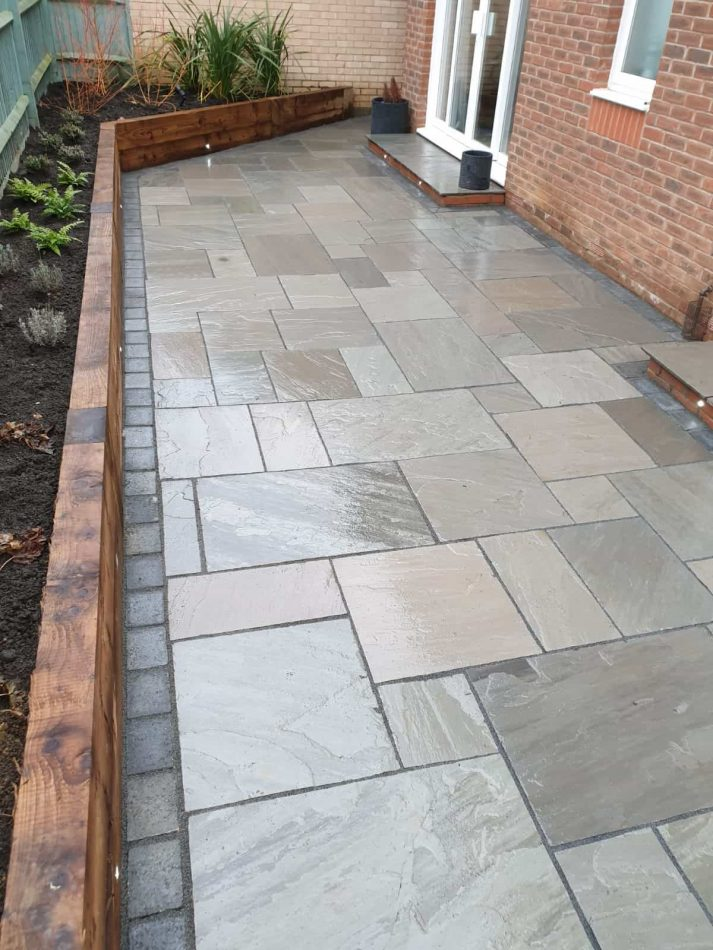 Before and after lawn Grey sandstone with Marshalls Tegula blocks